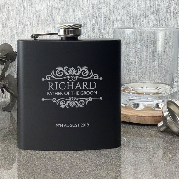 Personalised laser engraved hip flask wedding gift for a father of the groom