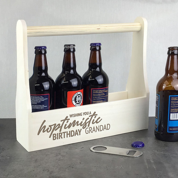 Personalised engraved wooden real ale IPA beer caddy gift. Wishing you a hoptimistic birthday...