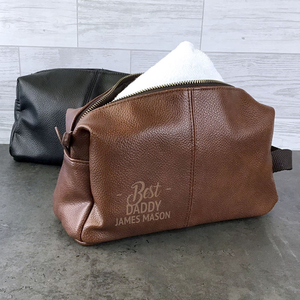 Best daddy wash bag gift idea. Personalised laser engraved vegan faux leather toiletry bag