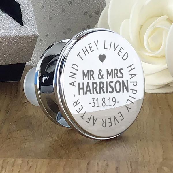 Engraved 'And they lived happily ever after' personalised wine bottle stopper. Perfect wedding or anniversary gift.
