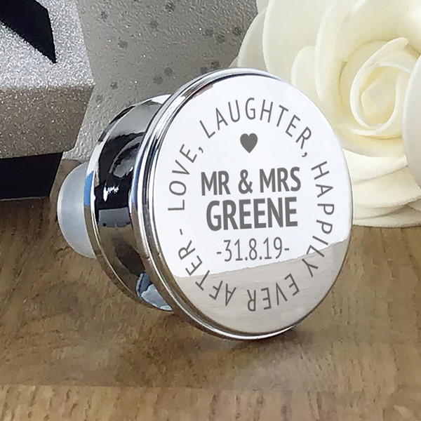 Engraved 'Love, laughter, happily ever after' personalised wine bottle stopper. Perfect wedding or anniversary gift.