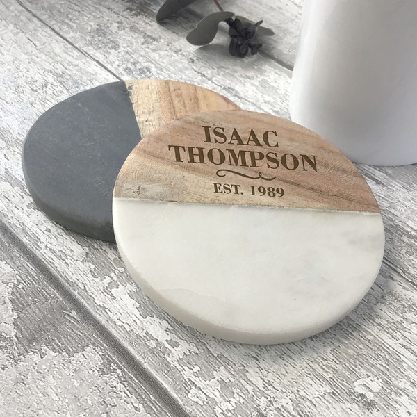 Personalised birthday natural stone and wooden personalised gift idea.