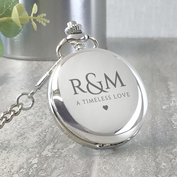 A timeless love, personalised engraved pocket watch gift for an engagement, wedding or anniversary.