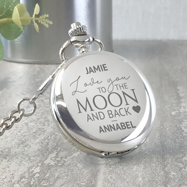 Love you to the moon and back personalised engraved pocket watch gift