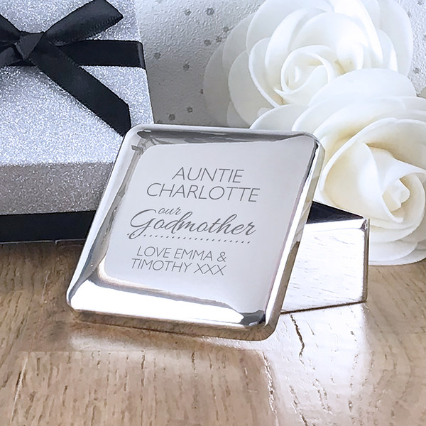 Godmother personalised engraved gift idea, silver plated trinket box from a godchild