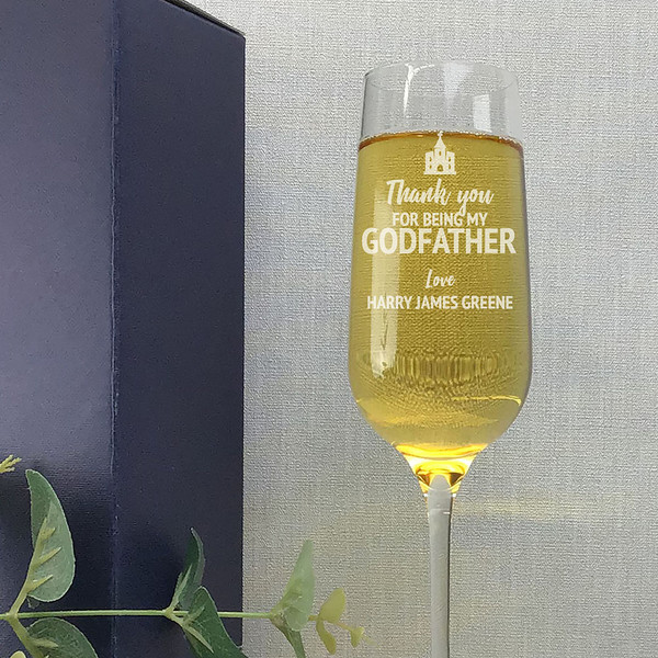 Thank you for being my god father, crystal champagne flute with personalisation.