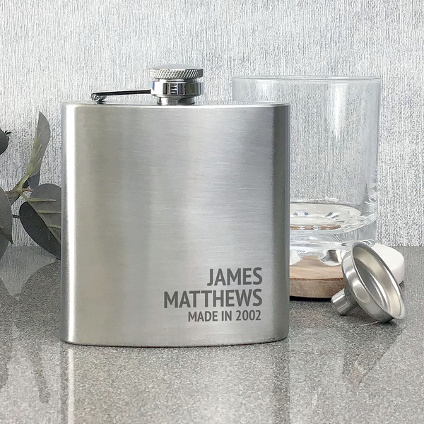 Personalised engraved birthday hip flask gift idea for a dad, uncle, grandad, brother, friend or relative.