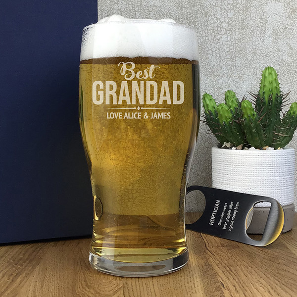 Best grandad laser engraved pint glass gift personalised with the gift givers names