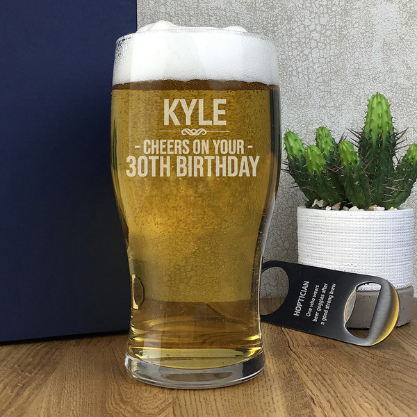 Cheers on your 30th birthday, personalised engraved pint glass gift