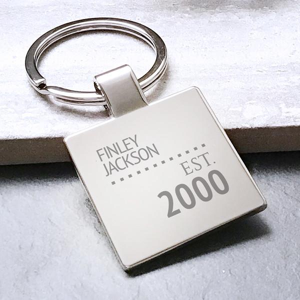 Personalised metal keyring birthday gift idea, year of establishment.