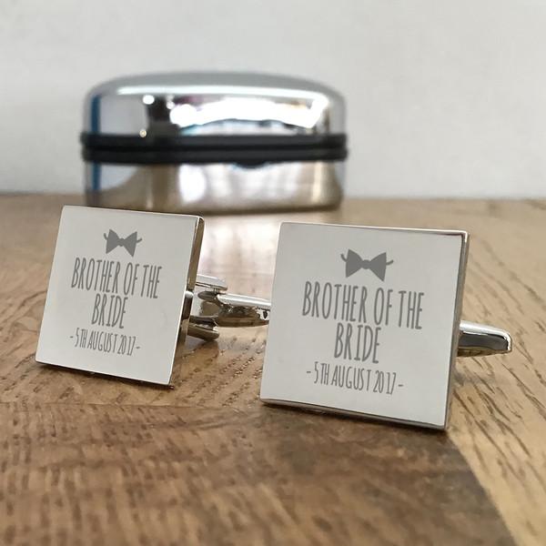 Brother of the bride, silver engraved cufflinks, keepsake wedding gift idea.
