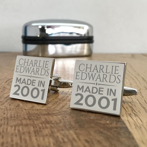 Personalised engraved birthday cufflinks gift idea for an 18th, 21st, 30th or other birthday