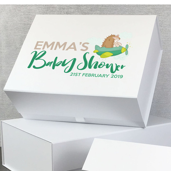 Baby shower gift box for a mother and un born baby. Personalised gift box.