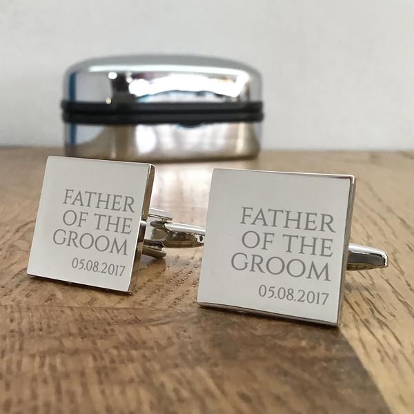 Father of the groom, silver engraved cufflinks, keepsake wedding gift idea.