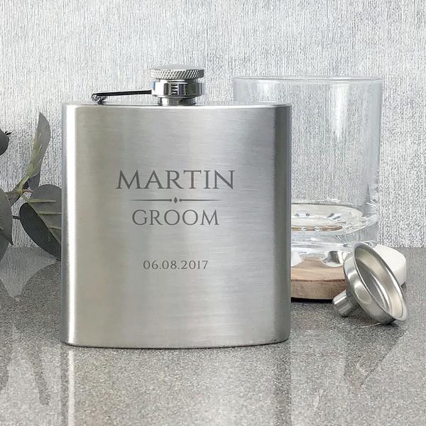 Groom stainless steel hip flask, personalised engraved wedding gift.
