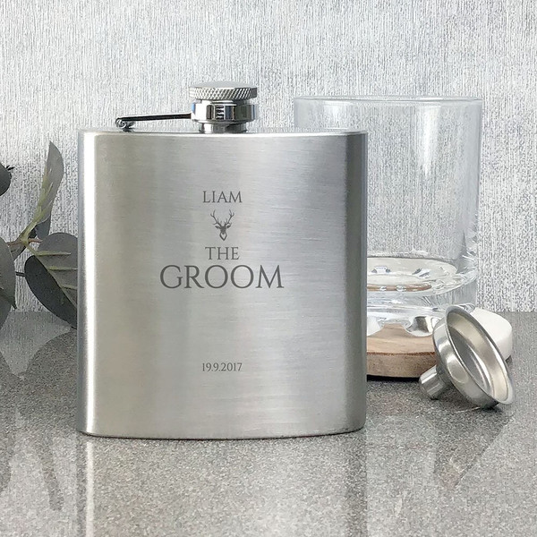 Groom engraved stainless steel hip flask wedding stag party keepsake gift