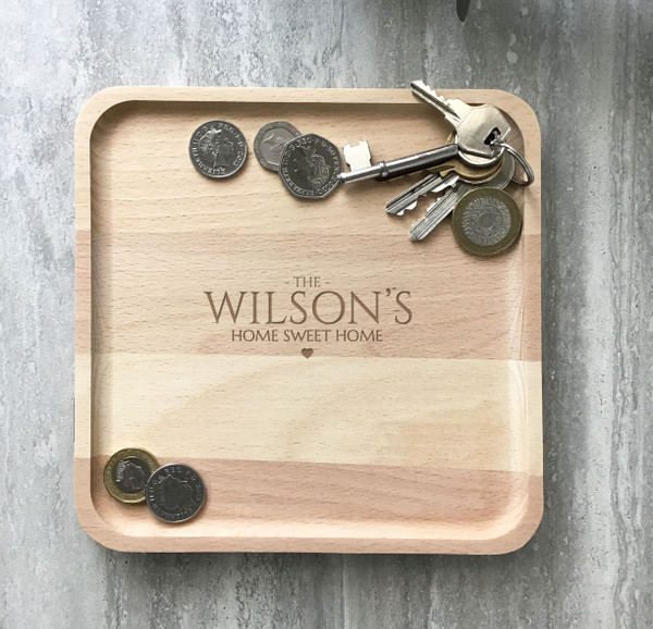 New home, first home, home sweet home themed laser engraved personalised valet catchall accessory tray