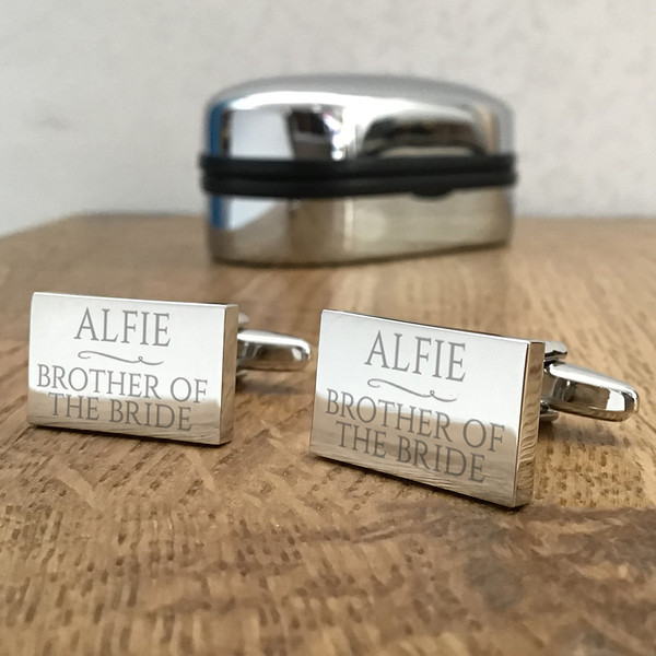 Wedding party, engraved rectangle cufflinks.