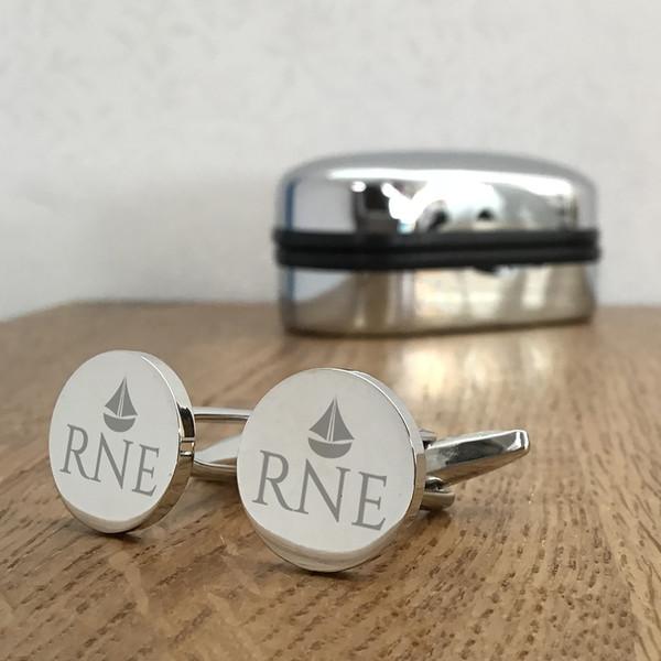 Sailing boat design round cufflinks gift for him