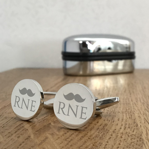 Moustache design monogrammed cufflinks with engraving.
