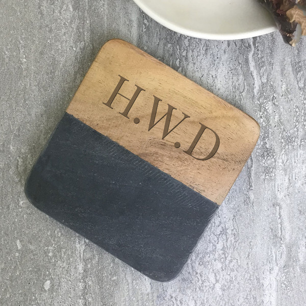 Monogrammed, grey stone drinks coaster gift with engraving