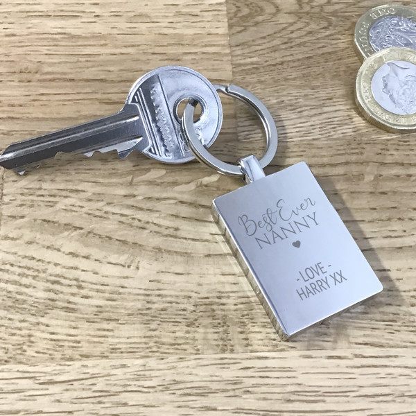 'Best ever' personalised metal rectangular keyring