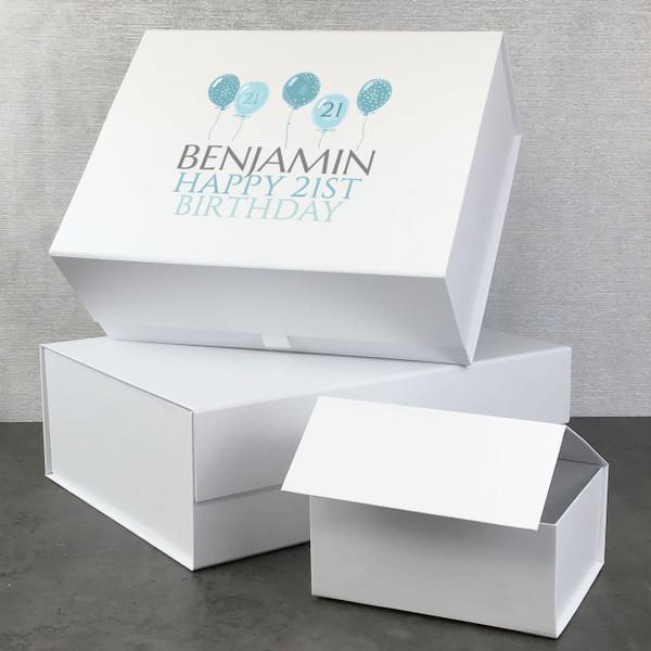 Personalised blue balloon birthday gift box