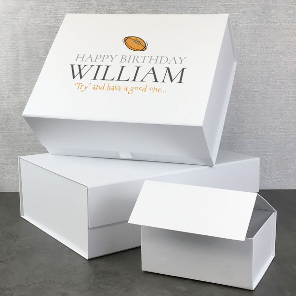 Personalised rugby ball birthday gift box