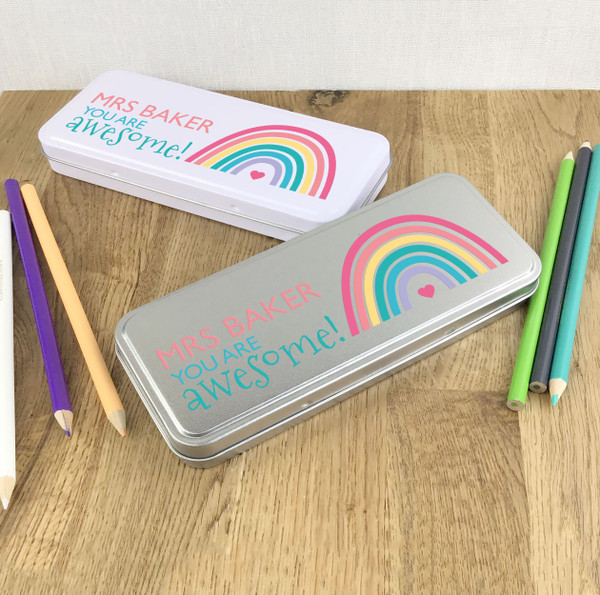 Personalised teacher you are awesome pencil tin