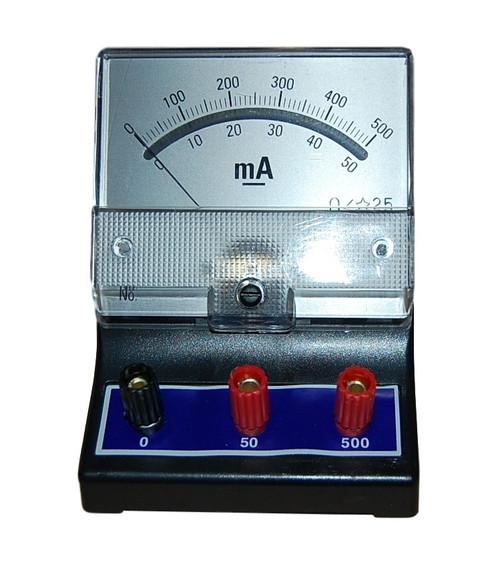 Dual Range 0-50 / 0-500 Milliampere (mA) DC Ammeter, Analog