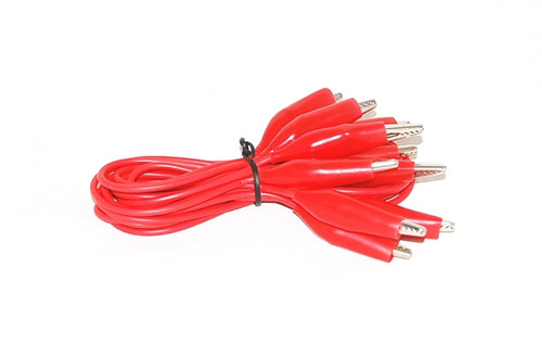 Alligator Clip Connecting Wires, RED, 12 Inch, Pack of 5
