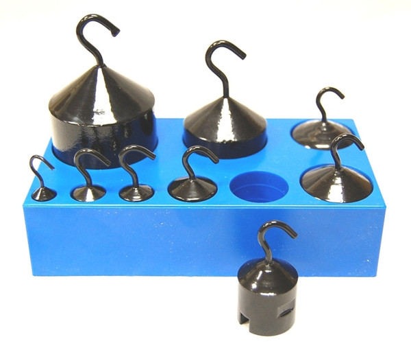 Weight Set with Hooks, Cylindrical Mass Set with Hooks, 9 Piece Painted Cast Iron