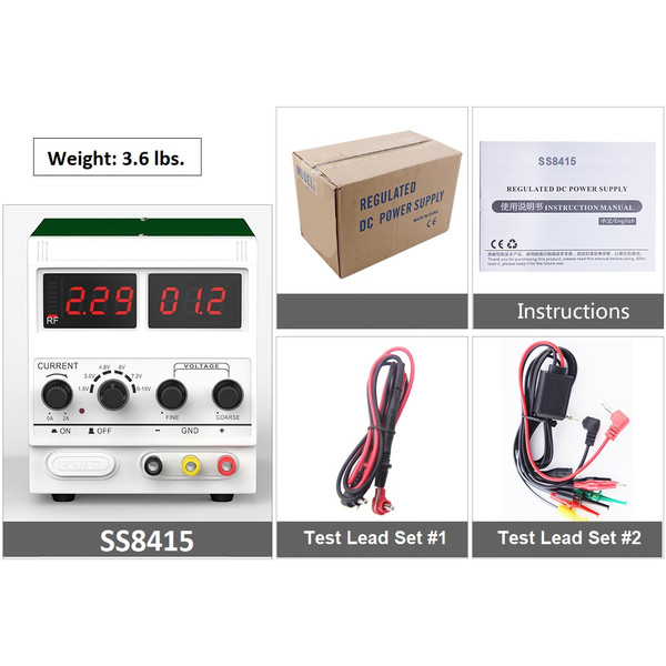 SS8415 Variable Power Supply Includes Two Test Lead Sets