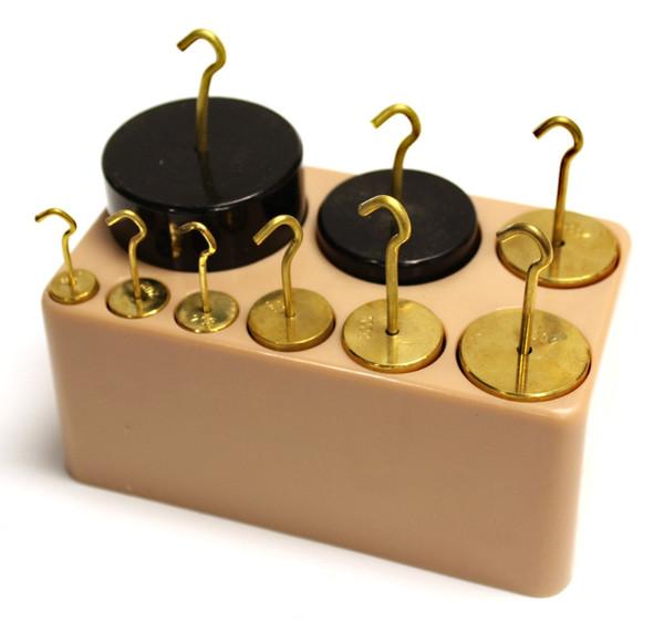 Cylindrical Mass Set with Hooks, Brass & Painted Iron, 9 Piece