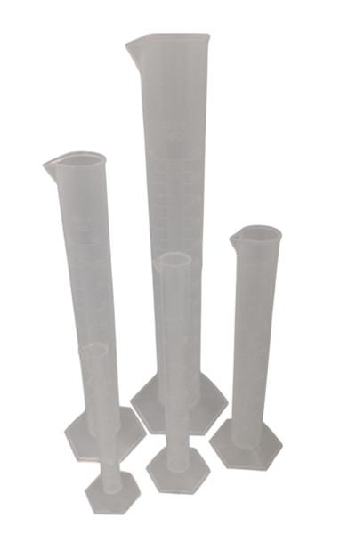 Graduated Cylinders, Polypropylene, Set of 5, 10-250ml