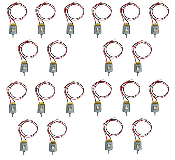 Bulk Miniature Motor, 1.5 - 3.0 Volts DC with Wire Leads, Pack of 20