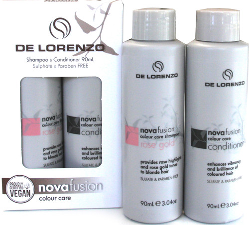 Delorenzo Novafusion Shampoo & Conditioner 90ml each - Rose Gold Travel Set