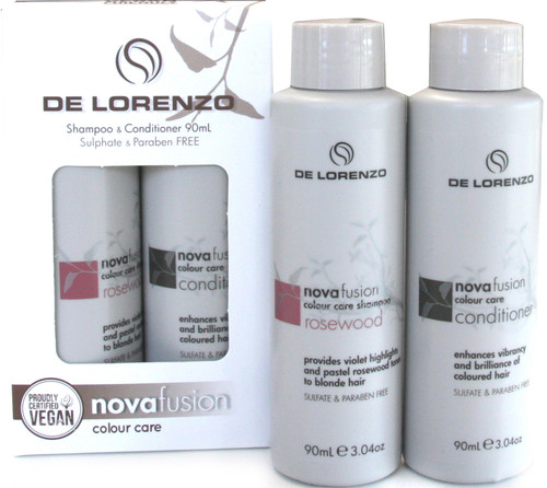 Delorenzo Novafusion Shampoo & Conditioner 90ml each - Rosewood Travel Set