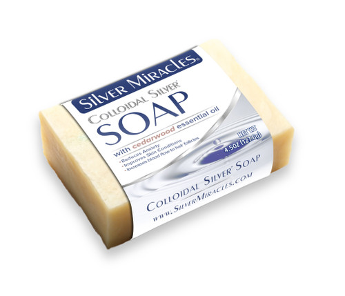 Silver Miracles Colloidal Silver Soap with Cedarwood Essential Oil