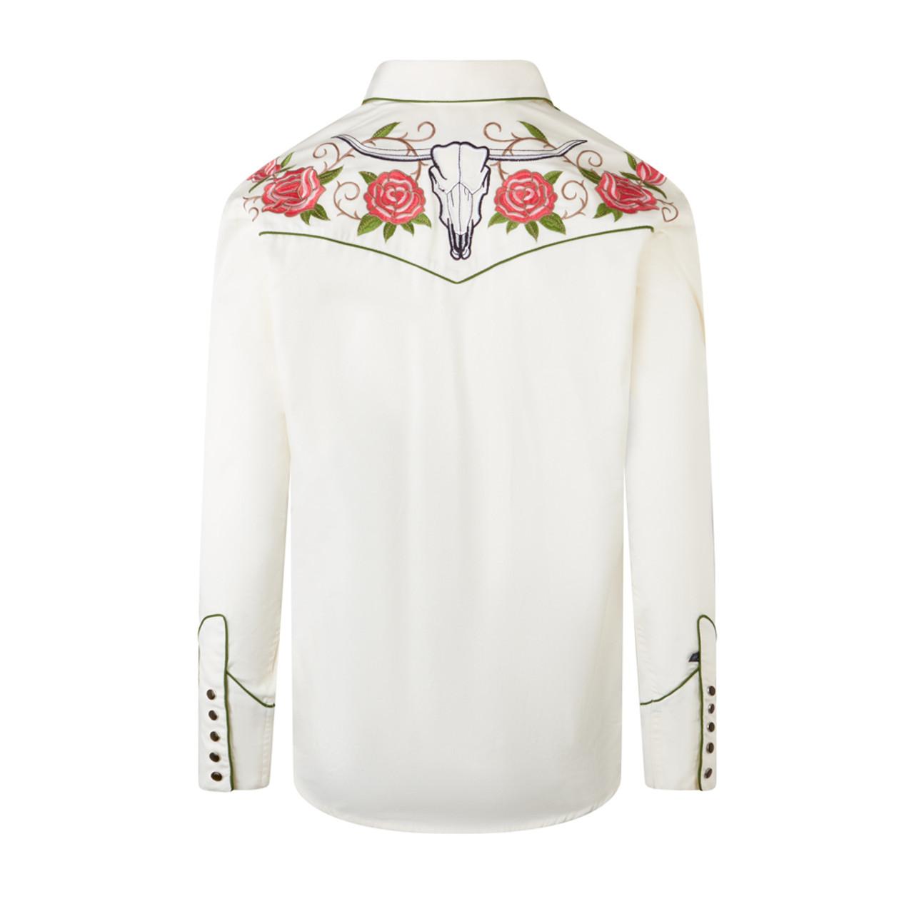 Mens Red Cowboy Shirt Western Rockabilly Embroidered Retro Star