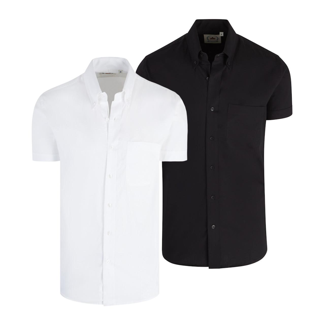 Mens Relco Oxford Short Sleeve Button Down Mod Shirt