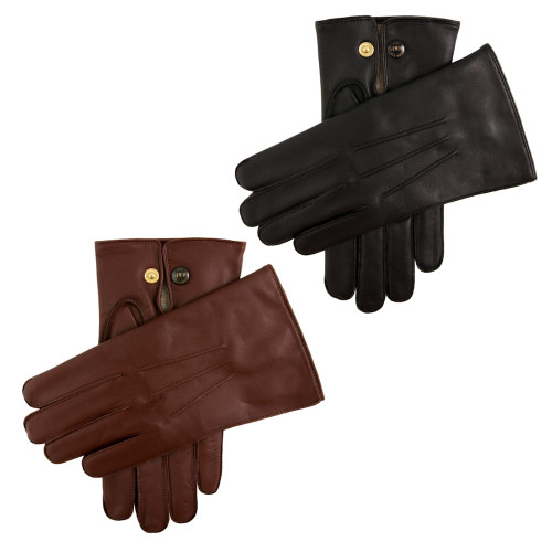 Mens Dents Mendip Leather Wool Lined Officers Gloves