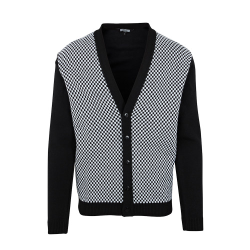 Mens Relco Retro 60s Mod Ska Checkered Button Knit Cardigan