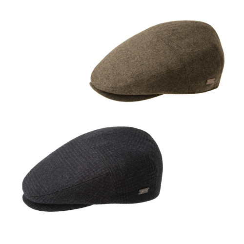 Mens Bailey of Hollywood Ormond Wool Blend Contour 5 Panel Flat Cap