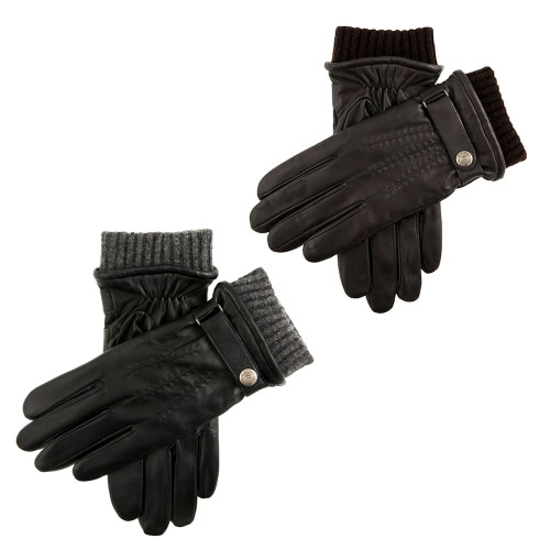 Mens Dents Henley Leather Touchscreen Gloves