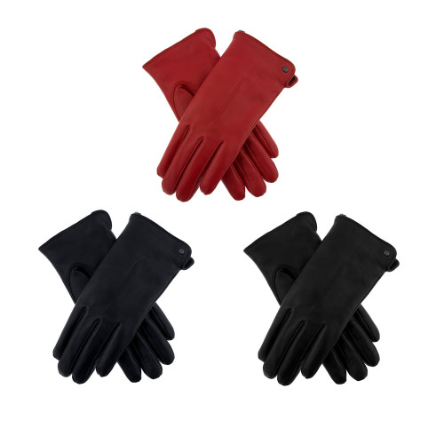 Womens Dents Samantha Leather Faux Fur Lined Gloves