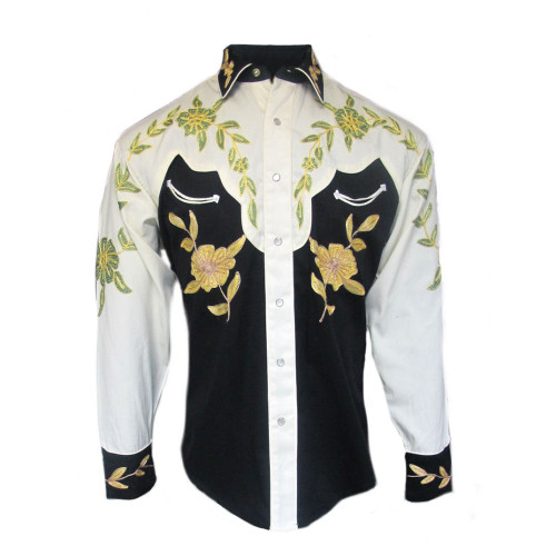 Mens Rockmount Black and Ivory 2-Tone Floral Western Embroidered Cowboy Shirt