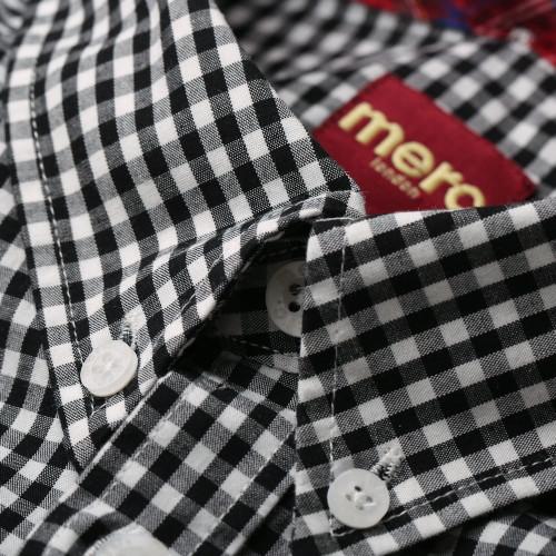 Mens Merc London Classic Gingham Terry Short Sleeve Mod Shirt