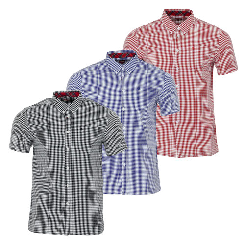 Mens Merc London Classic Gingham Terry Short Sleeve Mod Shirt