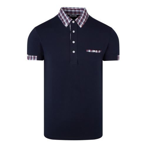 Mens Relco Cotton Mod Skinhead Polo Shirt with Tartan Collar